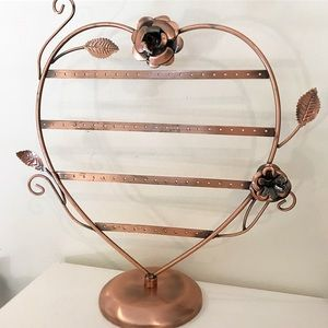 Rose Gold Heart-shaped Earring Organizer Stand